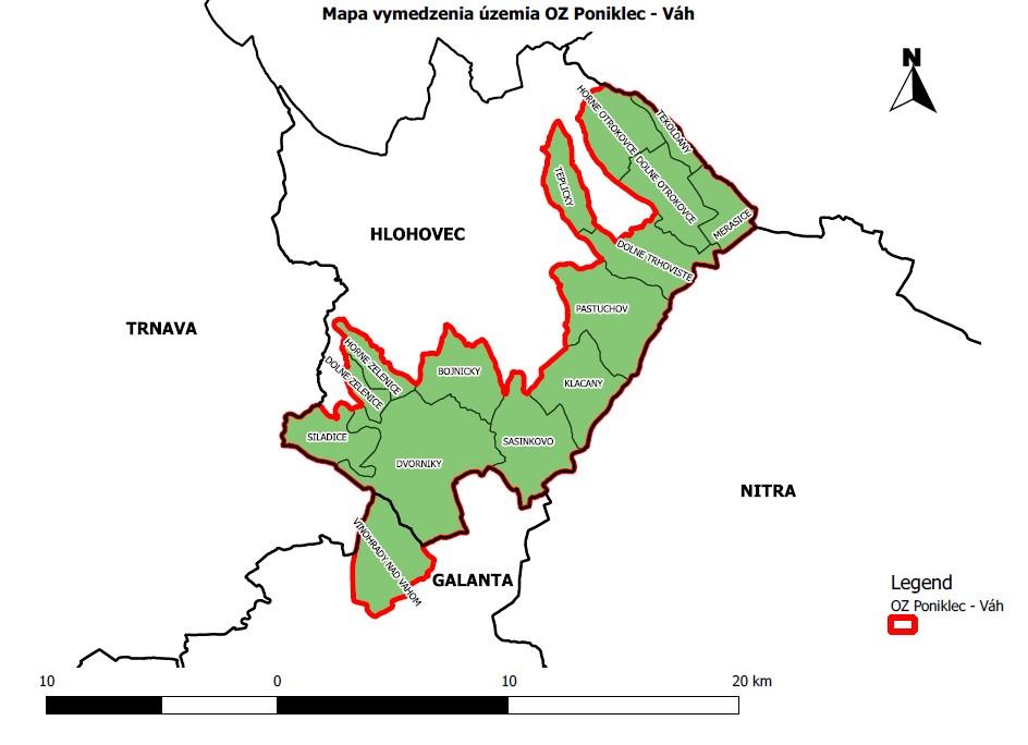 mapa územia ponikec