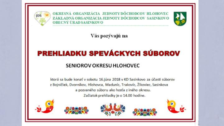 Prehliadka speváckych súborov seniorov okresu Hlohovec