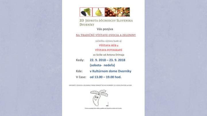 Výstava ovocia a zeleniny 2018 v Dvorníkoch