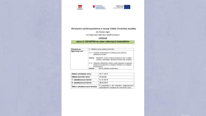 Výzva RO pre IROP na výber odborných hodnotiteľov pre MAS
