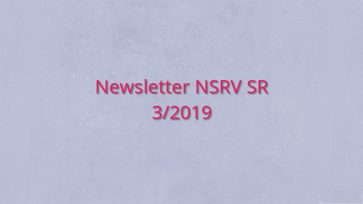 Newsletter Národnej siete rozvoja vidieka SR 3/2019