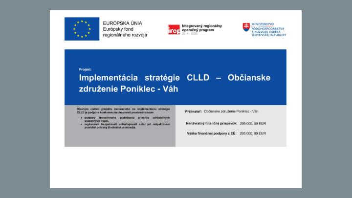 Informácia pre verejnosť – Implementácia stratégie CLLD Občianskeho združenia Poniklec – Váh