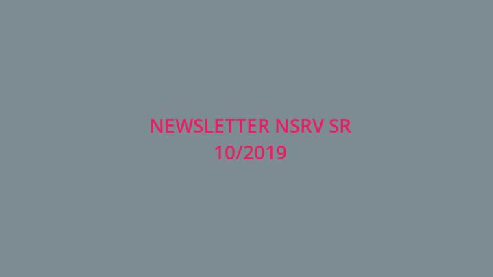 Newsletter Národnej siete rozvoja vidieka SR 10/2019
