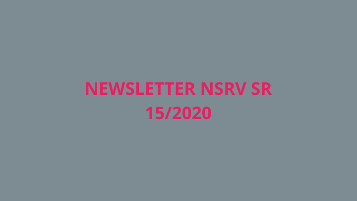 Newsletter Národnej siete rozvoja vidieka SR 15/2020